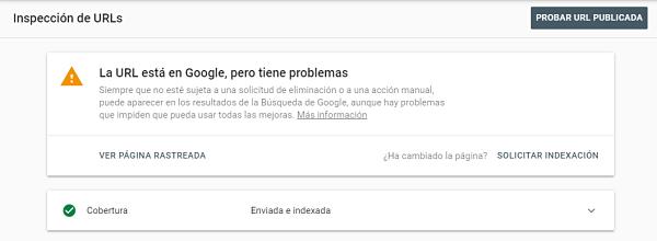 enviar los cambios a Google - Search Console